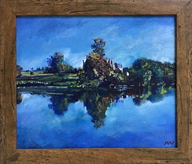 Sherborne Castle and Lake. Original art by Mark Pender