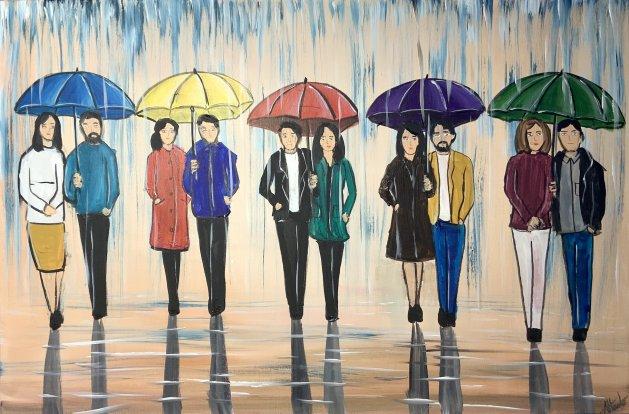colourful rainy umbrellas. Original art by Aisha Haider