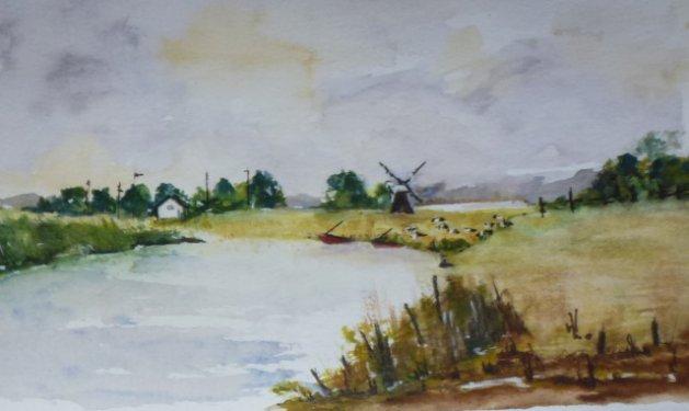 A NorfolkLandscape. Original art by Wendy Lloyd