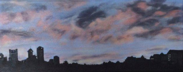 Sunset over Perth Australia. Original art by Wendy Lloyd
