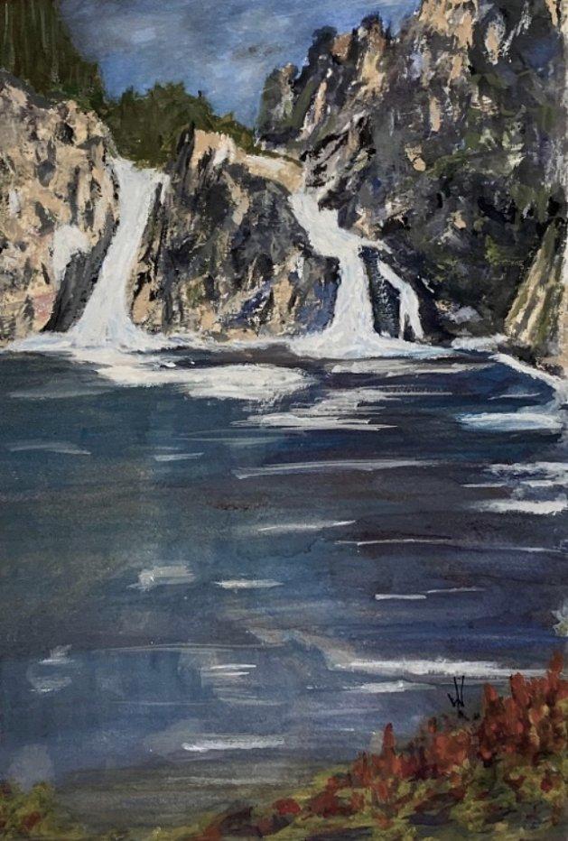 Waterfalls. Original art by Wendy Lloyd