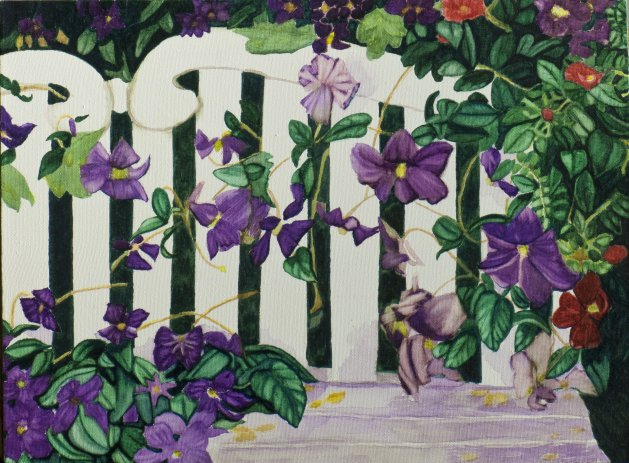 """White Bench with Clematis"". Original art by Janet Welsby"