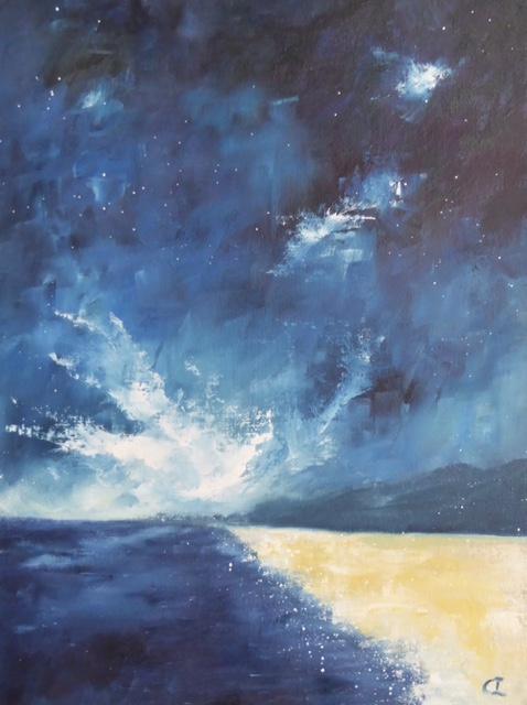 Midnight Swim. Original art by Christine Ingram