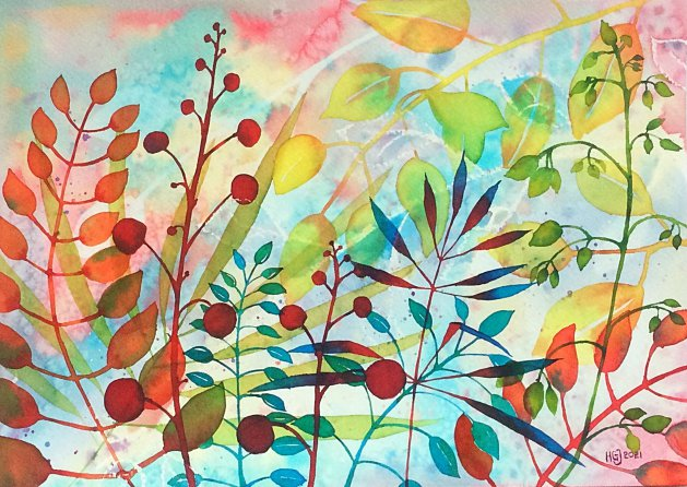 Foliage 4. Original art by Hilary Garnock-Jones