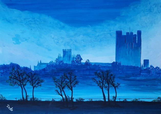 Cathedral in the Mist. Original art by Andy Ingram