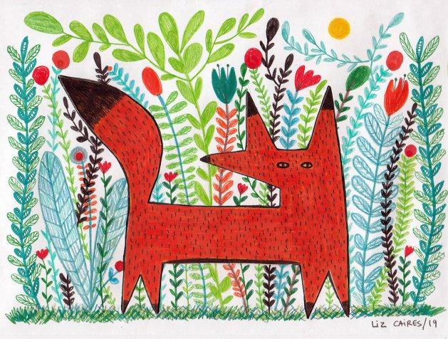 Fox. Original art by Liz Caires