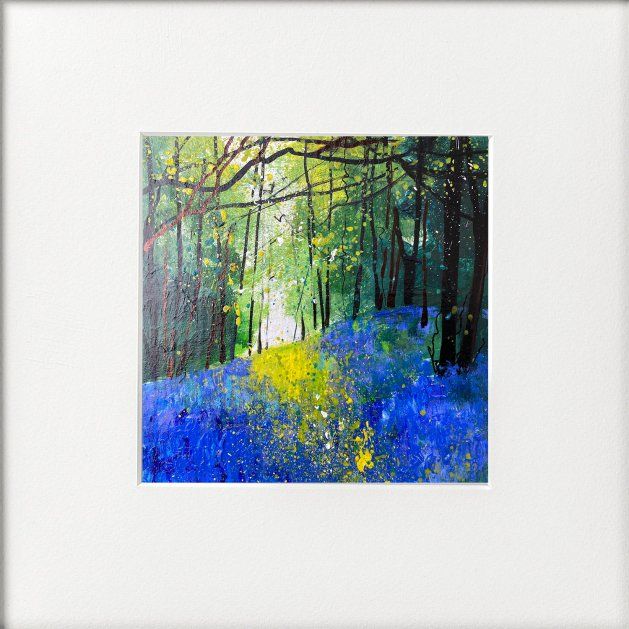 Seasons - Mid Spring Bluebell Bank. Original art by Teresa Tanner