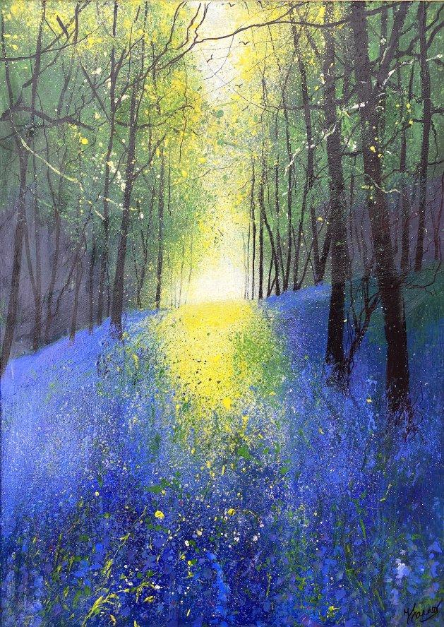 Seasons -Spring Light Across Bluebell Woodland. Original art by Teresa Tanner