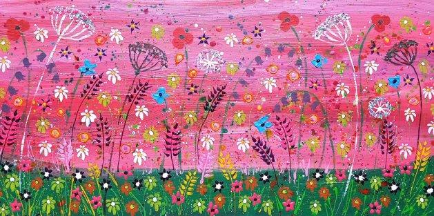 Pink Flower Garden. Original art by Casimira Mostyn
