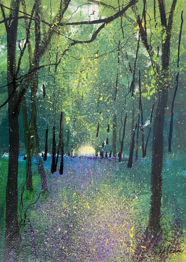 Spring Violet Wildflower Carpet. Original art by Teresa Tanner
