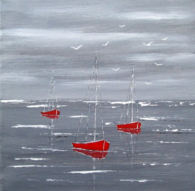 Red Boats. Original art by Patricia Richards
