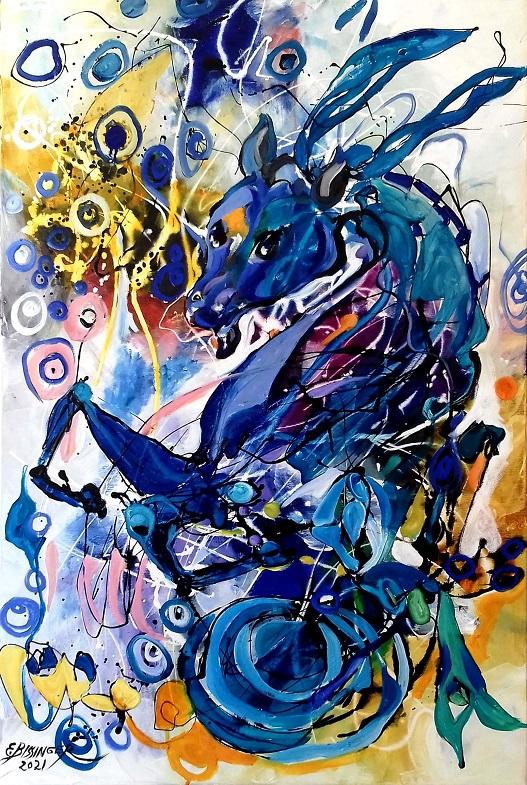 Capricorn sign. Original art by Elena Bissinger