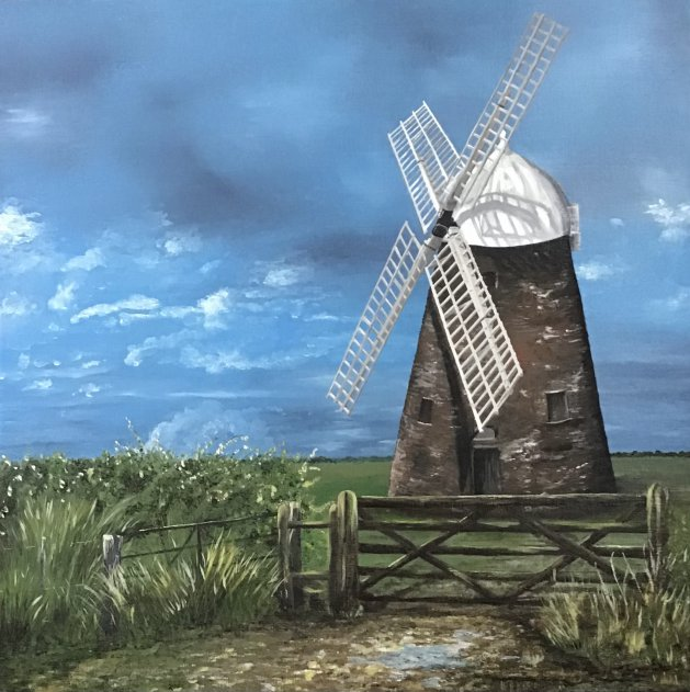 Halnaker windmill in Sussex. Original art by Janet Blower