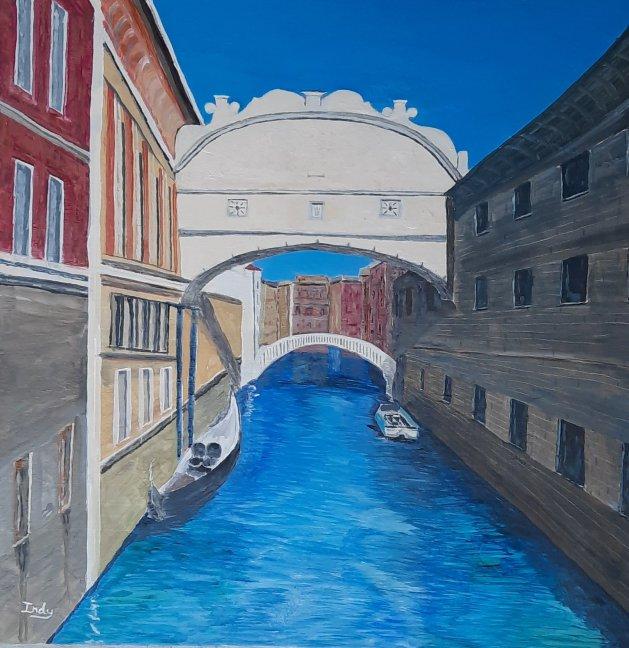 Venice, Bridge of Sigh's. Original art by Andy Ingram