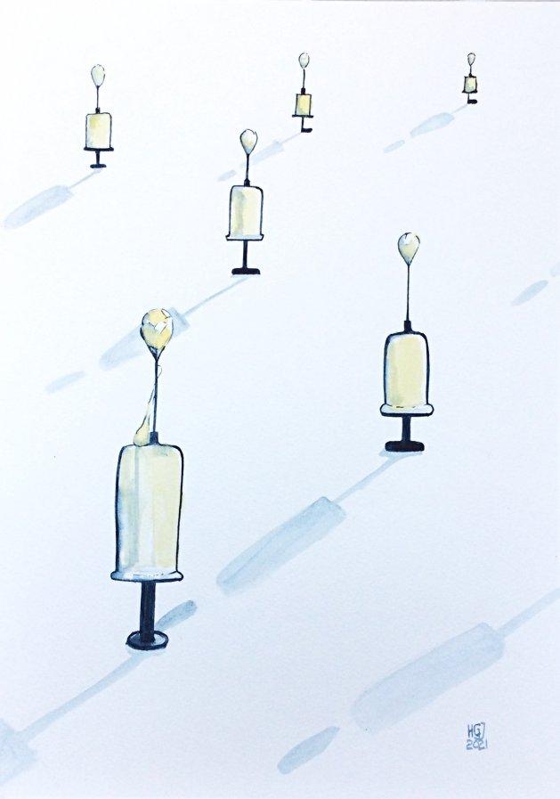 Social Distancing Vaccine. Original art by Hilary Garnock-Jones