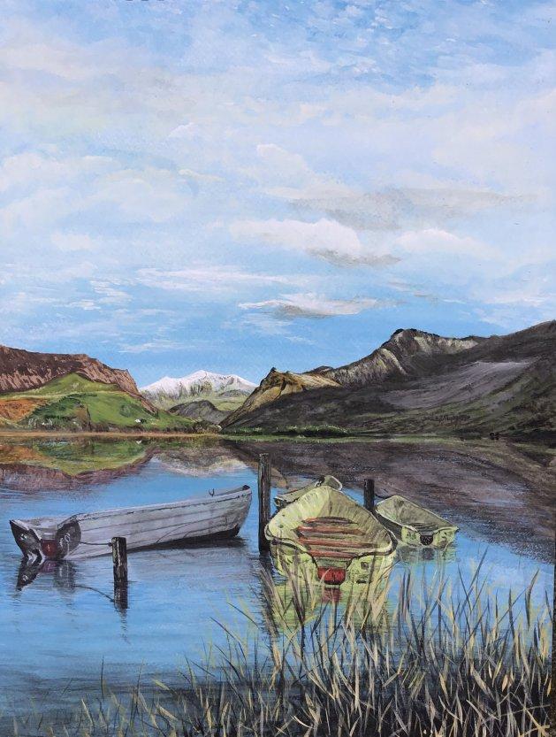 View to Snowdon. Original art by Janet Blower
