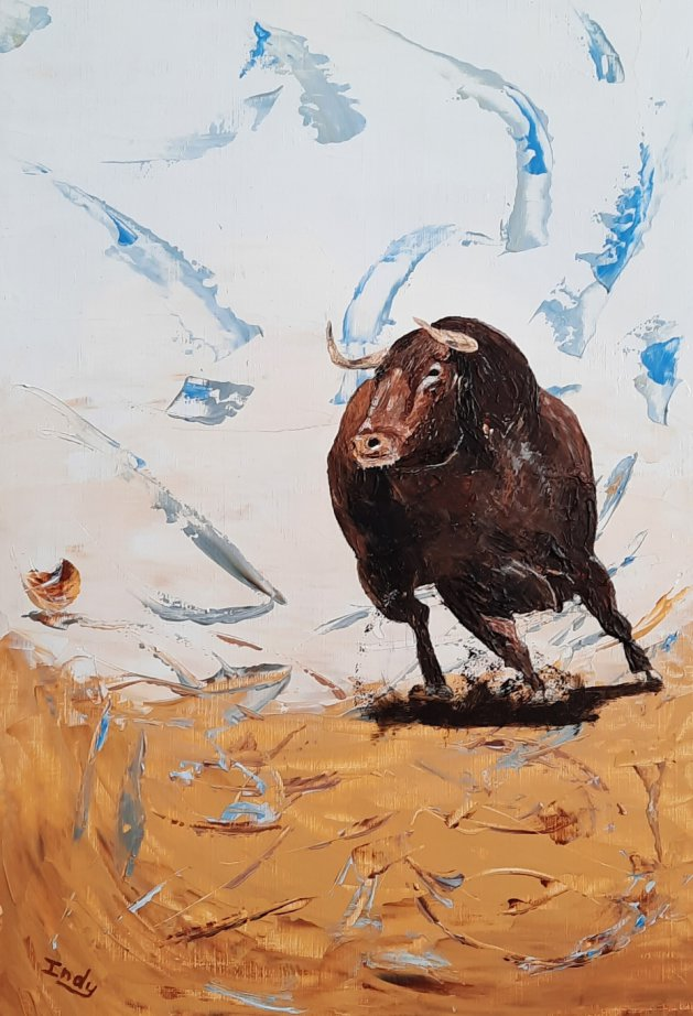 Raging Bull. Original art by Andy Ingram