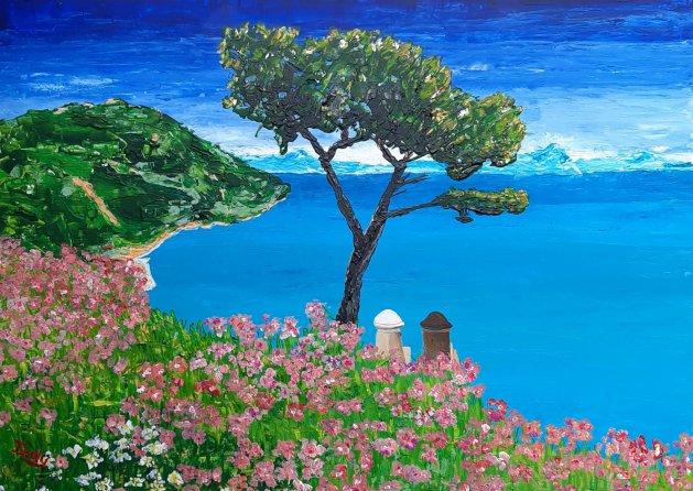 Amalfi Coast, Ravello. Original art by Andy Ingram