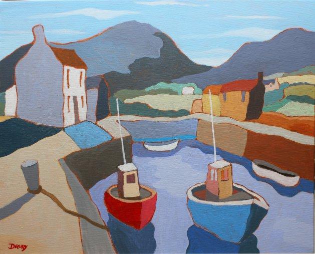 Small Irish Harbour 9. Original art by Randle Drury