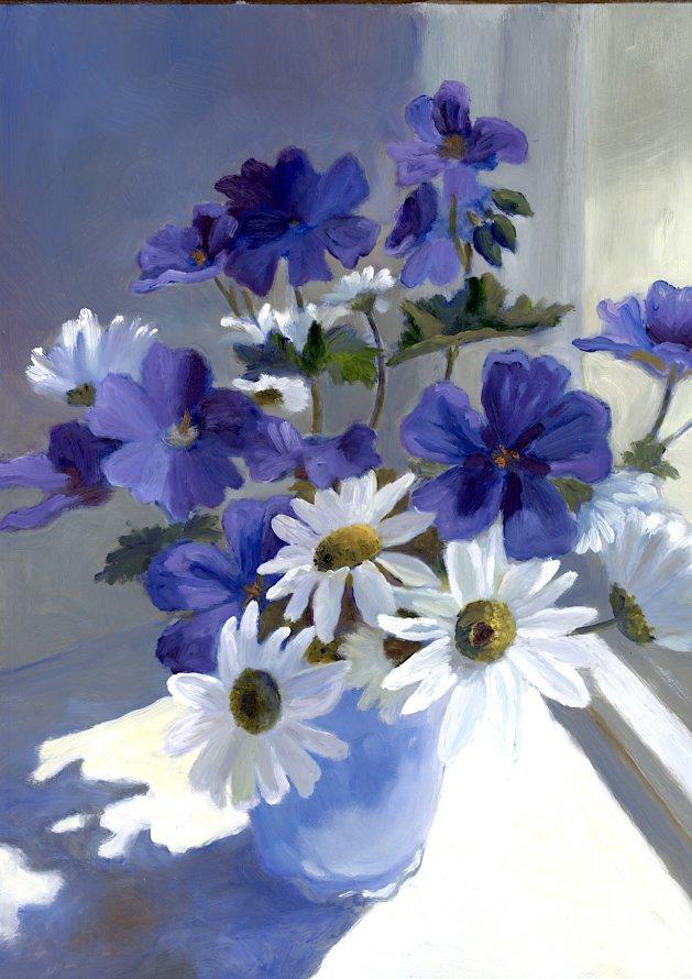 Blue and White. Original art by Christine Derrick