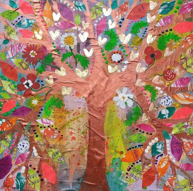 Copper Tree in a Multi Coloured Sky. Original art by Casimira Mostyn