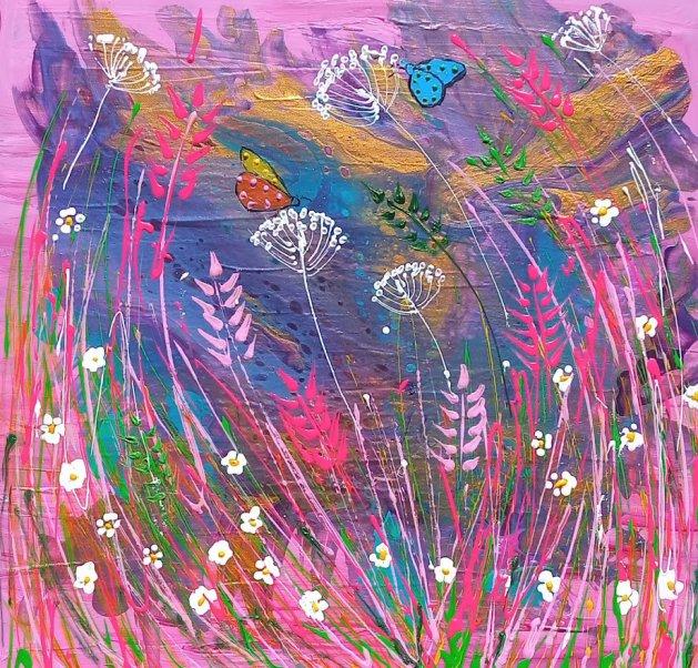 Wild Flowers in a Pink Sky. Original art by Casimira Mostyn
