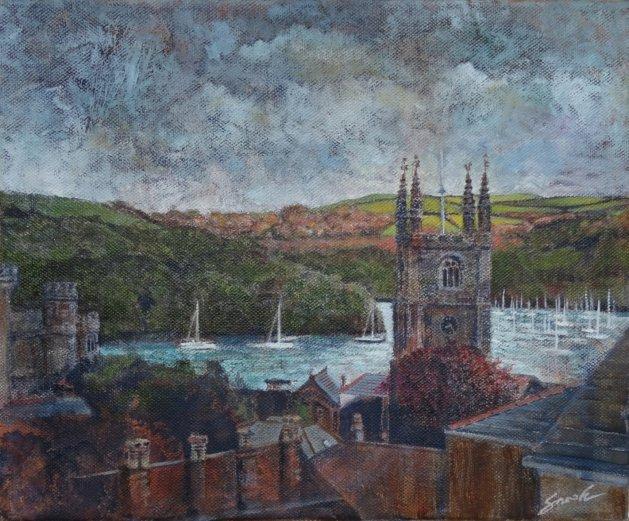 Last Light-Fowey, Cornwall. Original art by David Snook
