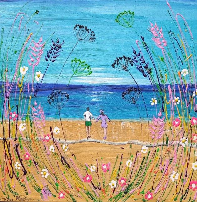 Seascape and Romance among Bold Flowers. Original art by Casimira Mostyn