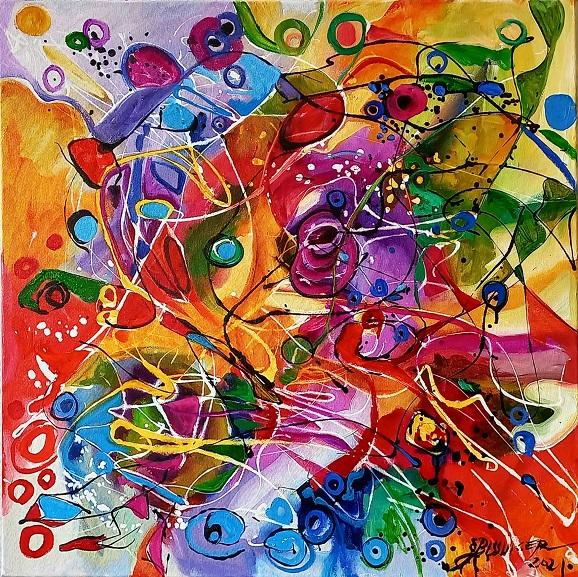 Ochii misteriosi ,abstract Bissinger. Original art by Elena Bissinger