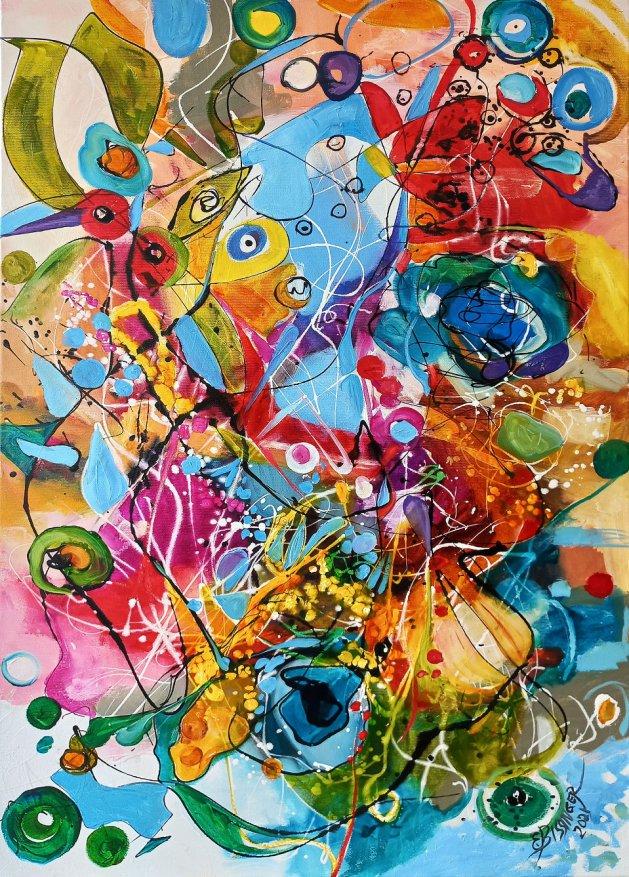 Printre stropi de ploaie,abstract Bissinger. Original art by Elena Bissinger