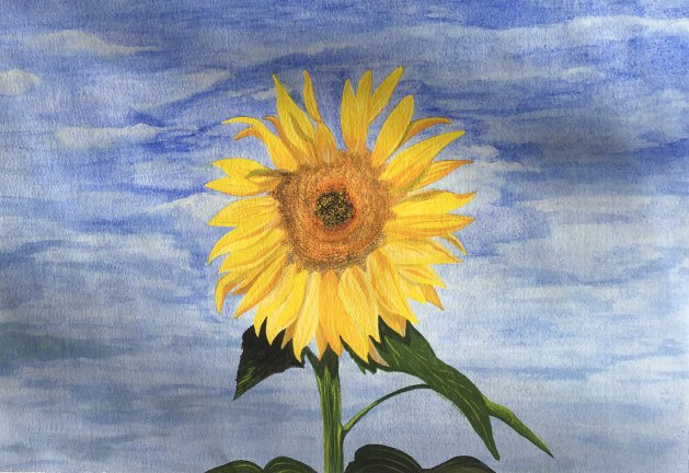 Sunny sunflower. Original art by Janet Blower