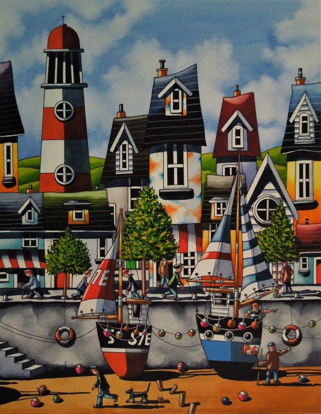 Cornish Boats. Original art by Paul Kiernan