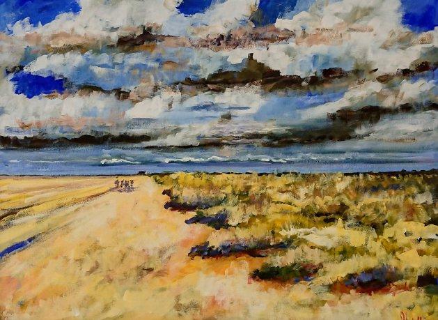 Brancaster Beach Norfolk. Original art by John Walker