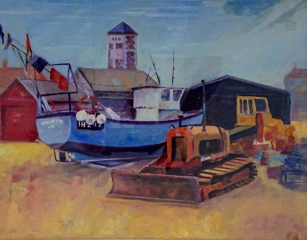 Aldeburgh beach. Original art by John Walker