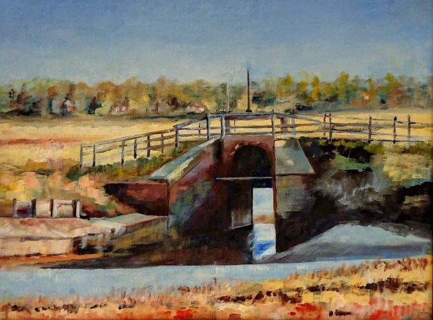 Thornham Sluice gate. Original art by John Walker