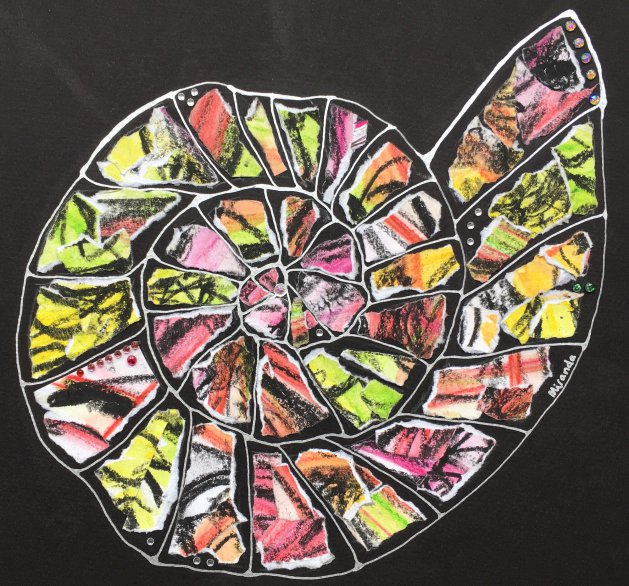 Allsorts - Original Ammonite Collage Painting. Original art by Miranda Pender