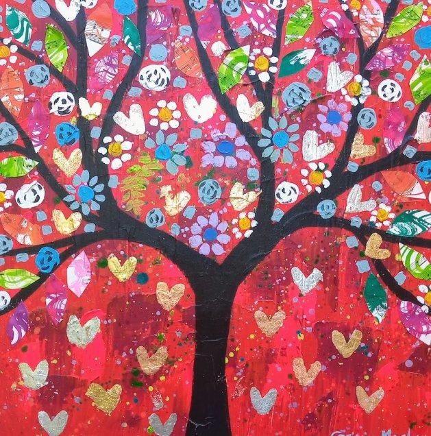 Jewelled tree in a Bright Red Sky. Original art by Casimira Mostyn